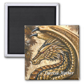 Topaz Dragon Square Magnet