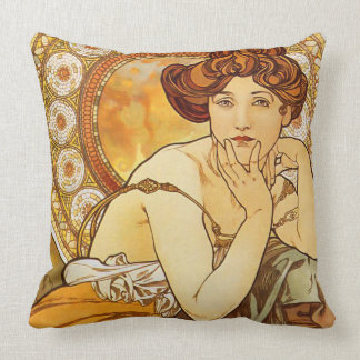 Topaz Gems Series, Alphonse Mucha Art Nouveau Cushion