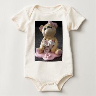 topcake teddy bear girl baby bodysuit