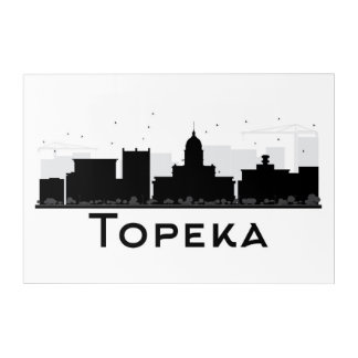 Topeka, Kansas | Black & White City Skyline Acrylic Print