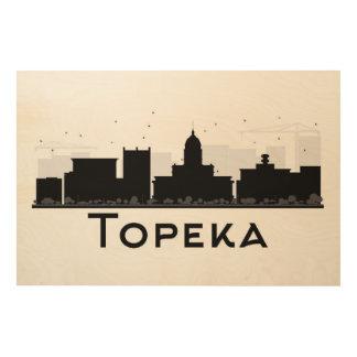 Topeka, Kansas   Black & White City Skyline Wood Wall Art