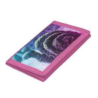 Topiary colourful pink & blue ornamental snail tri-fold wallets