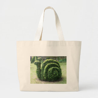 Topiary garden snail fun green large tote bag