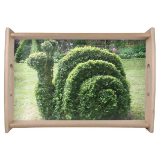 Topiary green ornamental garden snail fun classy serving tray
