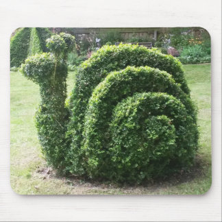 Topiary snail green happy gardening mouse pad