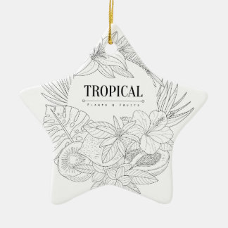 Topical Fruits And Plants Logo Ceramic Ornament