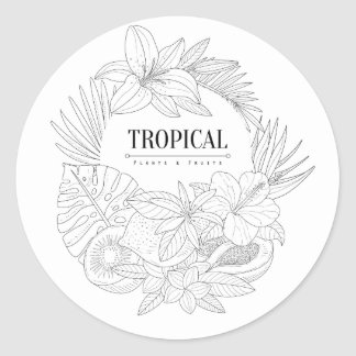 Topical Fruits And Plants Logo Classic Round Sticker
