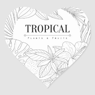 Topical Fruits And Plants Logo Heart Sticker