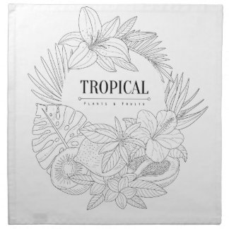 Topical Fruits And Plants Logo Napkin