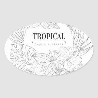 Topical Fruits And Plants Logo Oval Sticker