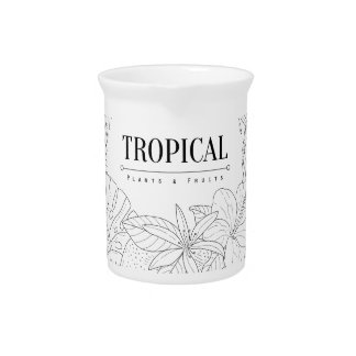 Topical Fruits And Plants Logo Pitcher