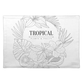 Topical Fruits And Plants Logo Placemat
