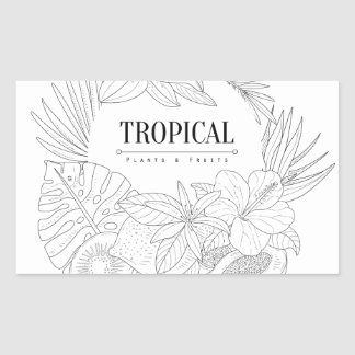 Topical Fruits And Plants Logo Rectangular Sticker