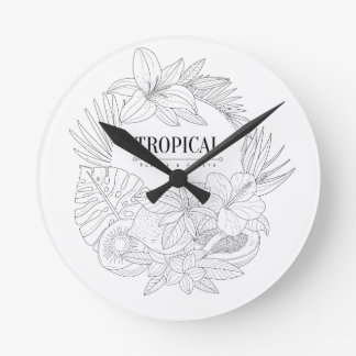 Topical Fruits And Plants Logo Round Clock