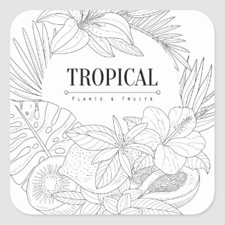 Topical Fruits And Plants Logo Square Sticker