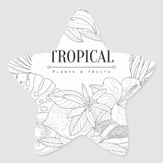 Topical Fruits And Plants Logo Star Sticker