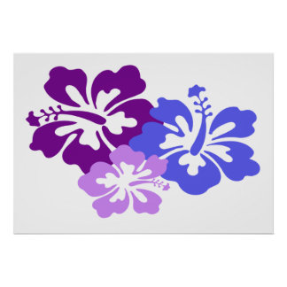 Topical Hibiscus Flower in Blue Purple and Lilac Print