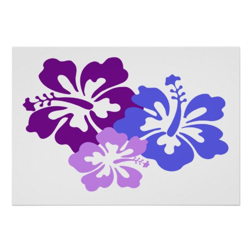 Topical Hibiscus Flower in Blue, Purple and Lilac Print