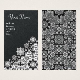 TOPKAPI,FLORAL BLACK WHITE ORIENTAL DAMASK FLOWERS BUSINESS CARD