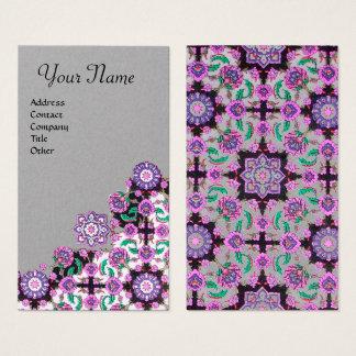 TOPKAPI,FLORAL PINK BLACK ORIENTAL FLOWERS Grey Business Card