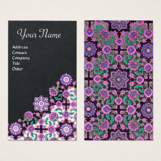 TOPKAPI,FLORAL PINK GREEN ORIENTAL FLOWERS Black Business Card
