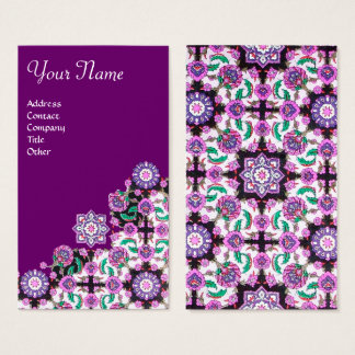 TOPKAPI,FLORAL PINK GREEN ORIENTAL FLOWERS Purple Business Card