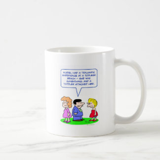 topless beach toddler attacked coffee mug