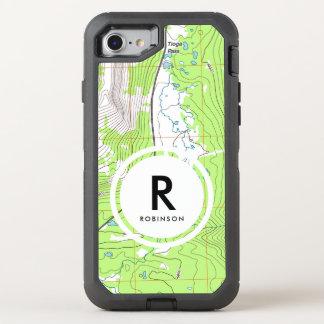 Topographic Map Monogram OtterBox Defender iPhone 8/7 Case