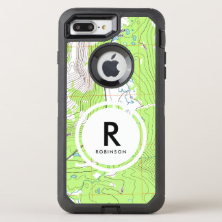 Topographic Map Monogram OtterBox Defender iPhone 8 Plus/7 Plus Case