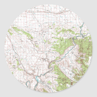 Topographic Map Round Sticker