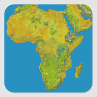 Topographic view of Africa Square Sticker