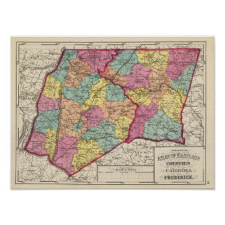 Topographical atlas of Maryland counties 5 Poster