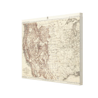 Topographical Map of Mississippi River Gallery Wrap Canvas