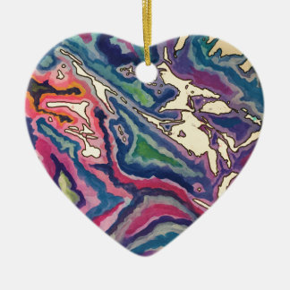 Topographical Tissue Paper Art I Ceramic Ornament