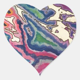 Topographical Tissue Paper Art I Heart Sticker