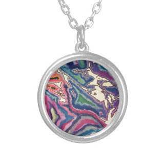 Topographical Tissue Paper Art I Silver Plated Necklace