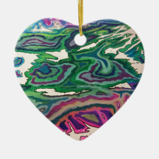 Topographical Tissue Paper Art II Ceramic Ornament