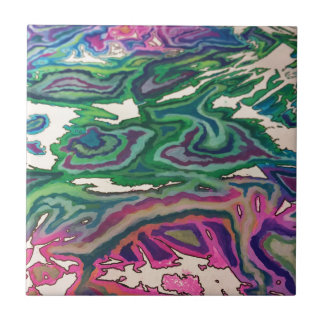 Topographical Tissue Paper Art II Ceramic Tile