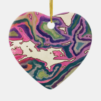 Topographical Tissue Paper Art III Ceramic Ornament
