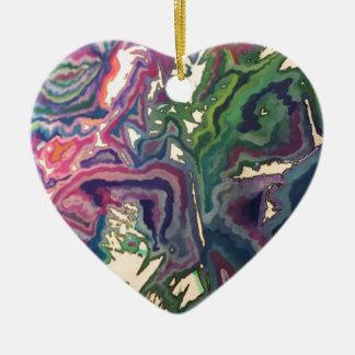 Topographical Tissue Paper Art IV Ceramic Heart Decoration
