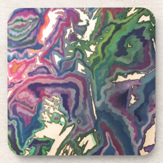 Topographical Tissue Paper Art IV Coasters
