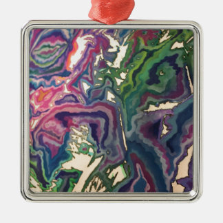 Topographical Tissue Paper Art IV Metal Ornament