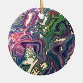Topographical Tissue Paper Art IV Round Ceramic Decoration