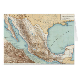 Topography of Mexico Card