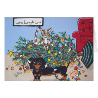 Toppled Tree Holiday Greeting Card for Pet Lovers