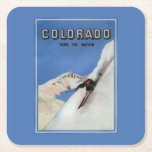 Tops the Nation - Skiing Promotional Poster Square Paper Coaster