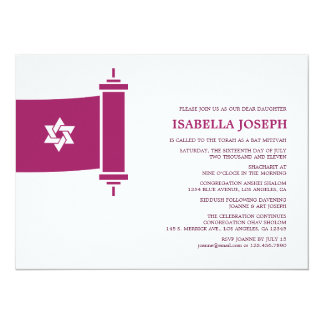 "Torah Bat Mitzvah Invitation 5.5"" X 7.5"" Invitation Card"