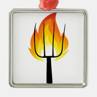 Torch and Pitchfork Metal Ornament
