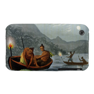 Torch Light Fishing in North America, engraved by iPhone 3 Case-Mate Case