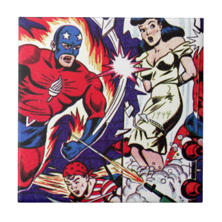 Torch Man and Torch Boy Ceramic Tile